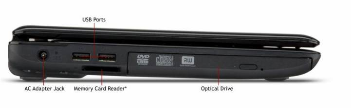 Vista Perfil Izquierda - Toshiba L635 S3104 Rojo